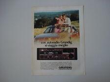 advertising Pubblicità 1983 AUTORADIO GRUNDIG WKC 3857