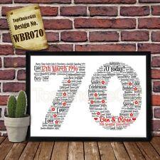 70th Wedding Anniversary Personalised Present Print wordart greeting poster gift