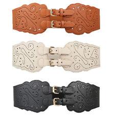 Super Wide Faux Leather Double Buckle Elastic Stretch Corset Waist Belt Ladies