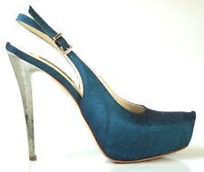 new $595 R & RENZI GIANMARCO LORENZI dark green platforms silver heel shoes HOT