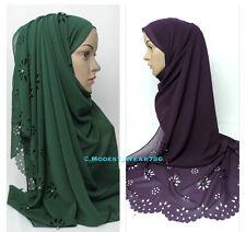 Premium Chiffon Maxi Hijab Scarf Shawl Wrap Muslim Pearl Laser Cut 180x85cm