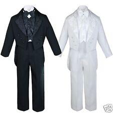 Infant Toddler Teen Boys Wedding Baptism Formal Tuxedo Suits Black White sz S-20