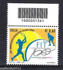 ITALIA 2010 FEDERAZIONE TENNIS  CODICE A BARRE 1361 MNH** 156 LEGGI PROMOZIONE