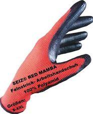 Seiz Guanti da lavoro 100% poliammide rosso con NERO rivestimento in nitrile