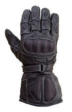 Motorcycle Carbon Fiber Knuckle 100% Drum Dyed Cowhide Race Gloves Black MG6