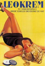 Fashion Blond Germany Girl Leokrem Cream German Vintage Poster Repro FREE S/H