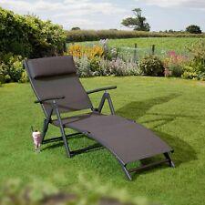Havana Reclining Sunlounger Folding Garden Chair Sun Bed Bronze Charcoal  Black
