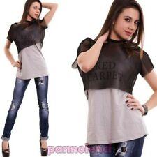 Suéter mujer doble camiseta de tirantes top red manga corta nueva CC-1357