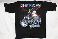 MOTORCYCLE SKELETON BIKER EAGLE MOON AMERICAN PRIDE HIGHWAY T-SHIRT