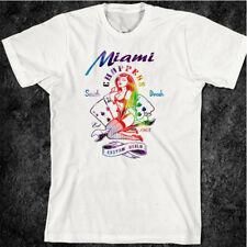 Miami South Beach T-Shirt Florida Surf Tattoo Fast Biker Motorcycle Vintage tee