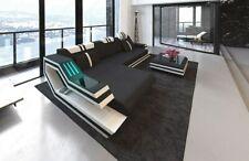 Stoff Sofa Designer Couch RAVENNA L schwarz Ecksofa LED Beleuchtung + USB Port