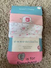 Koala Baby Short Sleeve Bodysuits Baby Girls 4 Pack Cotton Pink Elephant Pr NWT