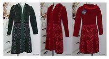 KOOI knitwear Lammwolle Mantel lambswool coat jacket Kapuze rot grün CC 17192