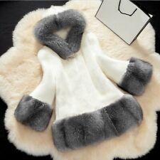 Plus Size Womens Hooded Faux Fox Fur Outwear Jacket Warm Thick Winter Furry Coat