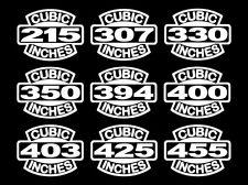2 OLDS V8 ENGINE DECALS 215-307-330-350-394-400-403-425-455 ROCKET STICKERS 6.6