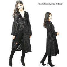 Black Goth Faux Silk Paisley Velvet Sheer Kimono Maxi Long Duster Cardigan S M L