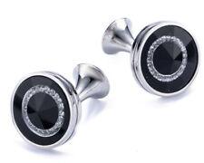 Luxury Genuine Black Crystal Tuxedo Mens Gift Cuff links by CUFFLINKS DIRECT