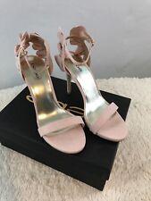NIB bebe Women's Pink Strappy Faux Suede Ruffle Blaire Stiletto Sandals  $129