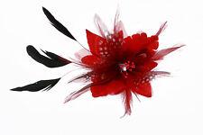 Pince Broche Ceremonie Soirée Mariage Fleur Plumes Strass (Noir, Bleu,.... NEUF