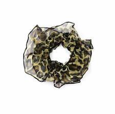 Leopard Print Hair Scrunchie Ponytail Holder Elastic Hair Band Chiffon  Ruched