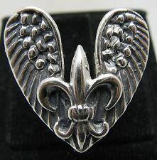 anello argento sterling MASSICCIO 925 GIGLIO Ali d'ANGELO NUOVO MISURA G - V