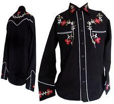 Para Hombre Western Cowboy Negro Rojo Mangas Largas Camisa de baile línea Rockabilly Relco