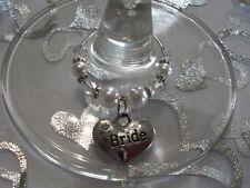 Pretty Glass Pearl & Crystal Bead Wedding Wine Charms,Choice of Charm/Bead Color