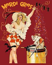 Mardi Gras Blond Girl Monkey New Orleans Carnival 16X20 Vintage Poster FREE S/H