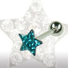 EPOXY Crystal Stern Zungen Piercing Stecker viele Kristalle beschichtet
