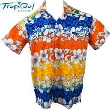 Hibiscus Mens Hawaiian Shirts Blue Orange Yellow Bucks Party Plus Size