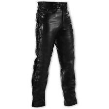 Pantaloni Pelle Moto Custom  Taglio Jeans Classico 5 Tasche Country