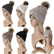 Bonnet Tricoté Fourrure Doublure Intérieure Perles Pompon Bonnet D'hiver Ski