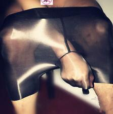 Men Oil Super Shiny Glossy Shorts Sexy Underwear Boxer Sheath Transparent