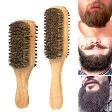 Natural Bristle Wood Handle Beard Brush Mustache Hair Shaving Facial Cleaning