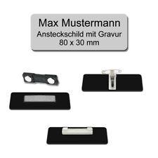 Namensschild, Ansteckschild mit Gravur, Nadel,Magnet,Clip, 80x30mm - Silber matt