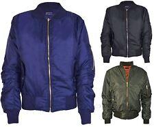 Girls Boys Kids Plain MA1 US Air Pilot Zip Up Biker Bomber Padded Jacket K007