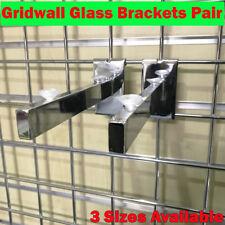 NEW HEAVY DUTY GRIDWALL GLASS SHELF BRACKETS (pair) FOR SHOP FITTINGS
