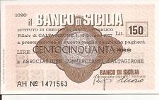 15-06-1977 BANCO DI SICILIA CALTAGIRONE MINI ASSEGNO L. 150 AD ASS.NE COMM.TI