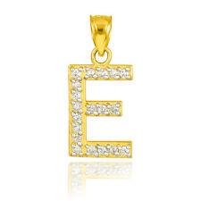 "10k Letter ""E"" Initial Gold Pendant Necklace with Diamonds 0.19 ctw"