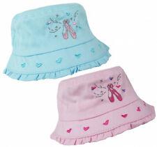 Girls 100% Cotton Ballerina Motif Beach Bush Sun Summer Hat Age 1 to Age 10