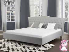 Barock Bett Unicorn Stoffbett grau mit Strasssteinen Lattenrost Bettkasten Stoff