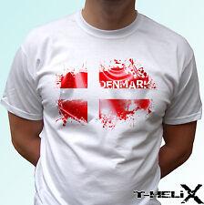 Bandera de Dinamarca-Blanco T Shirt Top Diseño de país-tamaños para Hombre Mujer Niños Bebé