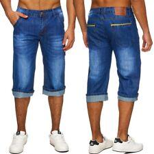 Hommes Denim Bermuda shorts jeans short long Jeans washed pantalon regular fit 3/4 a