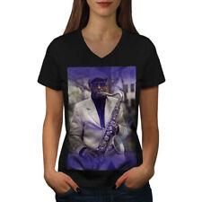 Saxophone Musician Music Women V-Neck T-shirt NEW | Wellcoda
