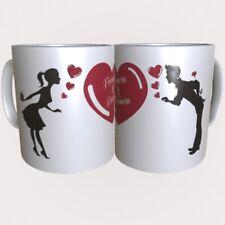 """Mug, Tasse en Céramique Personnalisable """"Couple Coeurs"""" + 2 Prénoms au Choix"""