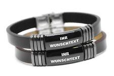 Leder Armband mit Edelstahlplatte GRAVUR Wunschtext Wunschname Wunschgravur