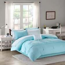 New! ~ Cozy Modern Aqua Light Blue Stripe Chevron Ruffle Comforter Set & Sheets