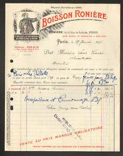 """PARIS (XIX°) USINE de SAINT-DENIS (93) BOISSON à base de SUCRE """"BOISSON RONIERE"""""""