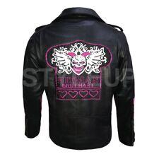 Bret Hitman Hart Legend Biker Genuine Leather Jacket Halloween Costume All Sizes