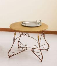 Tavolino da salotto tondo in ferro battuto ARIEL con piano in legno